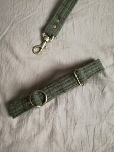 olive green wool tartan plaid dog collar handmade by hunt and howlingmoon in cape town