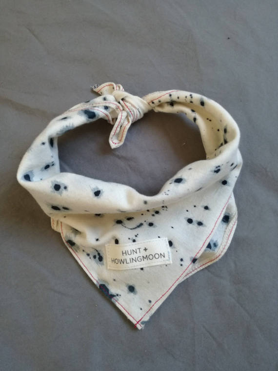 Natural cotton dog bandana with blue hand painted print and Hunt and Howlingmoon label