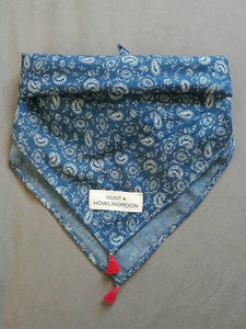 denim dog bandana with tassels