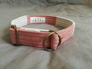 pink and cream striped linen dog collar with brass hardware and hunt and howlingmoon label