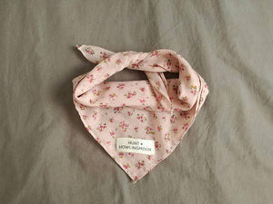 Pale pink vintage cotton dog bandana with floral print and hunt and howlingmoon label