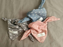 natural vintage cotton dog bandana in blue and grey and pink with a white polka dot and hunt and howlingmoon label