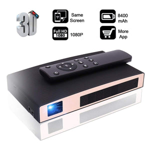 Mini Projector(2018 Upgraded+80%lumens) MOTOU DLP Portable LED Projector HD 8400mAh Rechargeable battery Supports iPhone/Android Multimedia outdoor for party/business/home