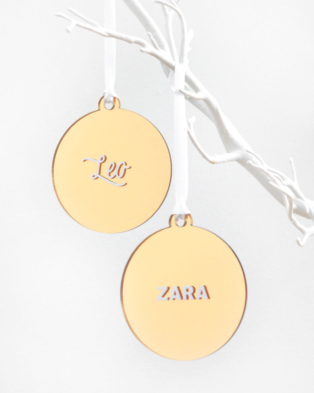 Name Gold Mirror Bauble | Christmas Decoration