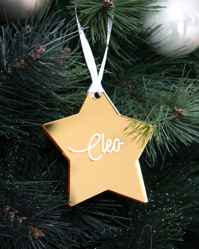 Name Gold Mirror Star | Christmas Decoration