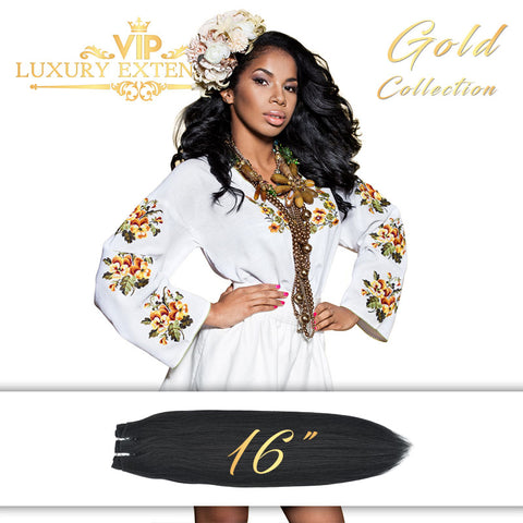 Weave 16″ Gold Collection Virgin Remy Hair Jet Black Straight