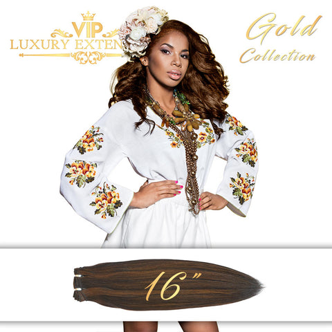 Weave 16″ Gold Collection Virgin Remy Hair Piano Brown Straight
