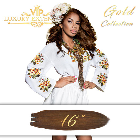 Weave 16″ Gold Collection Virgin Remy Hair Rich Brown Straight