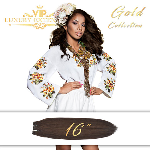 Weave 16″ Gold Collection Virgin Remy Hair Soft Black Straight