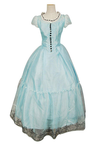 Tim Burton's Alice In Wonderland Alice Blau Kleid Cosplay Kostüm