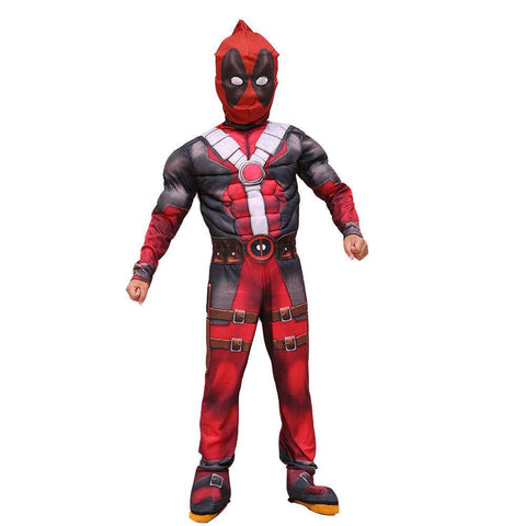 Kinder Marvel Deadpool Jumpsuit Maske Cosplay Kostüm Karneval