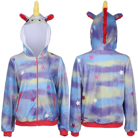 Die Turteltauben The Lovebirds Leilani Cosplay Kostüm Unicorn Hoodie Hooded Einhorn Jacke