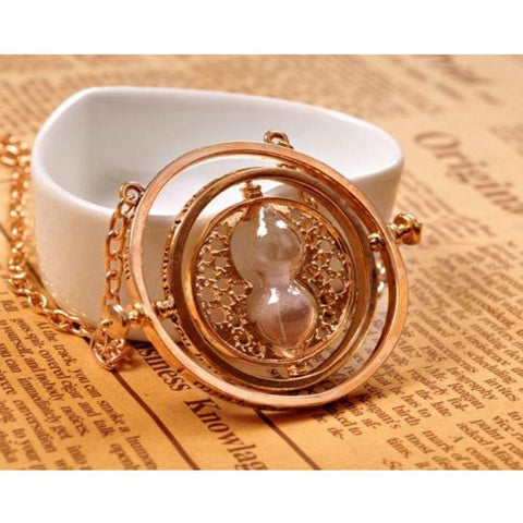 Harry Potter Hermione Granger Time Turner Rotating Hourglass Halskette Pendant Necklace Requisite - cosplaycartde