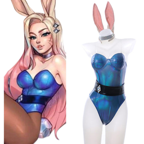 League of Legends LOL Fox Ahri Cosplay Kostüm Bunny Girl Jumpsuit Halloween Karneval Outfits