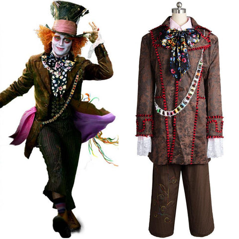 Alice In Wonderland Johnny Depp Mad Hatter 6 Stücke Full Set Cosplay Kostüm - cosplaycartde
