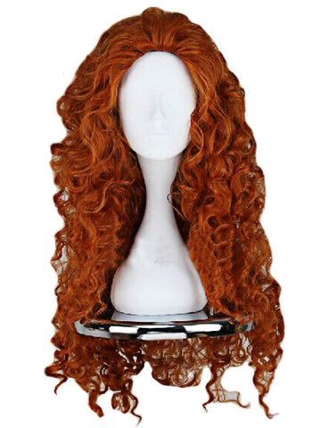 Brave Merida – Legende der Highlands Merida Orange Lockige Perücke Cosplay Wärmeformbeständig - cosplaycartde