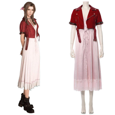 Final Fantasy VII 7 Aerith Aeris Gainsborough Cosplay Kostüm Rosa Kleid - cosplaycartde