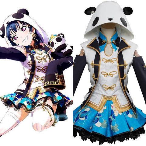 Love Live! Sunshine!! Aqours Tsushima Yoshiko UR 1693 China Dress Ver. Cheongsam Cosplay Kostüm - cosplaycartde