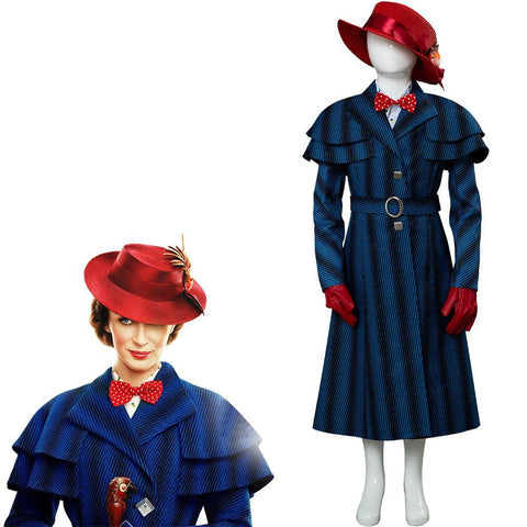 Mary Poppins' Rückkehr Mary Poppins Returns (2018) Mary Poppins Cosplay Kostüm für Kinder - cosplaycartde