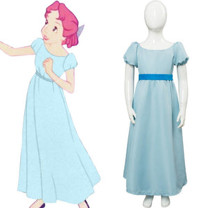 Nimmerland Peter Pan Wendy Darling Kleid Cosplay Kostüm Blau für Kinder