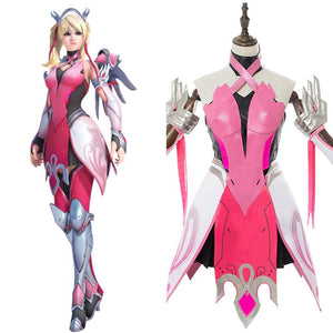Overwatch Mercy Angela Ziegler Cosplay Kostüm Rosa Kleid