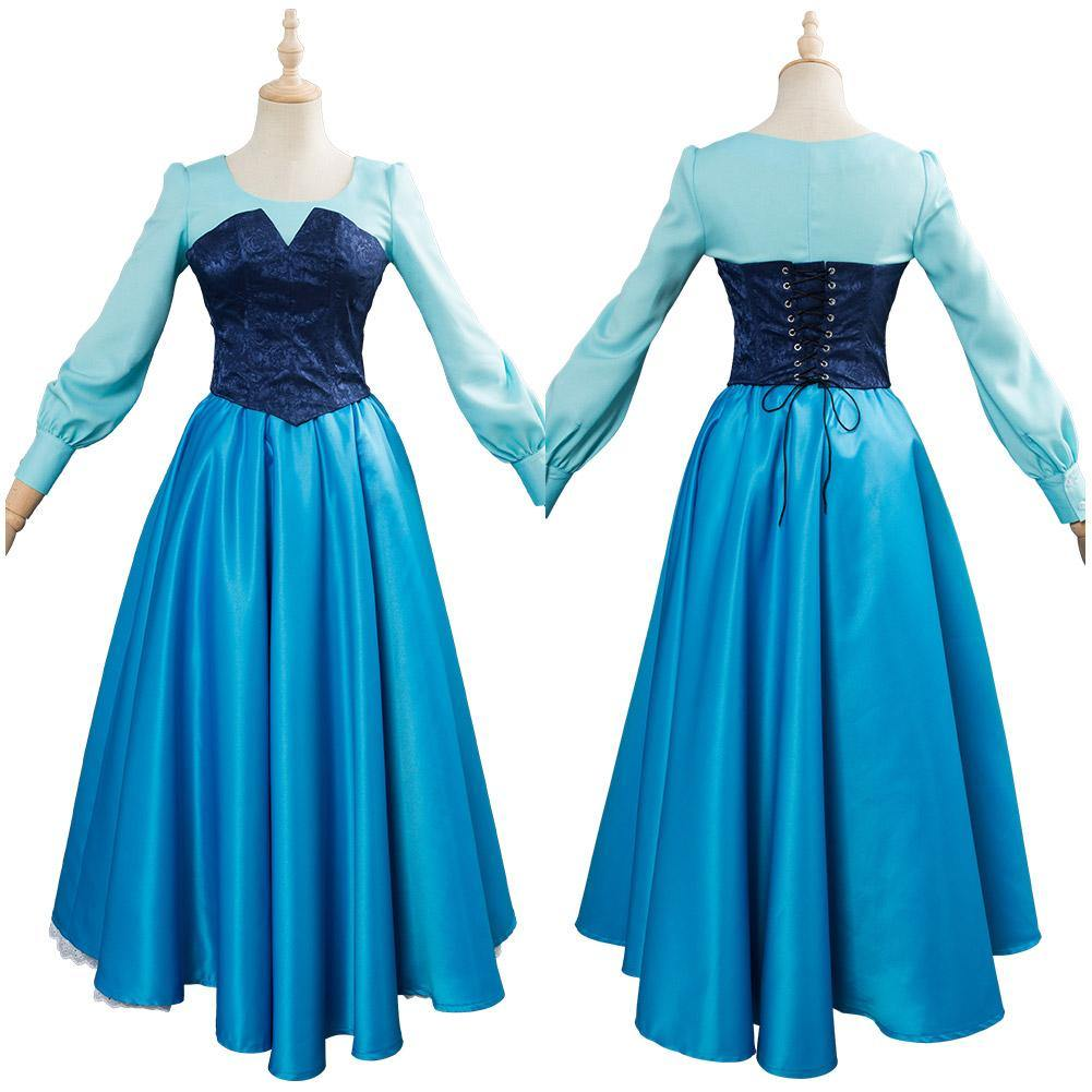 The Little Mermaid Arielle die Meerjungfrau Kleid Cosplay Kostüm Blau Kleid