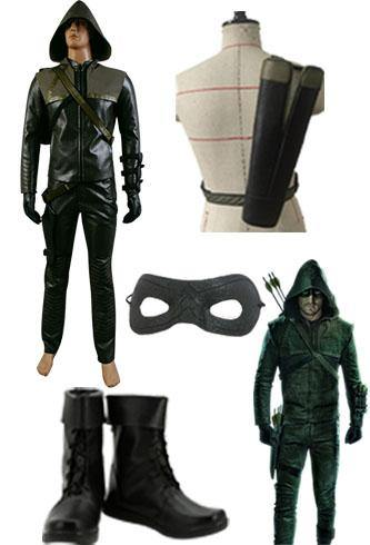 Green Arrow Oliver Queen Cosplay Kostüm + Blinder Augen Fleck + Stiefel + Köcher - cosplaycartde