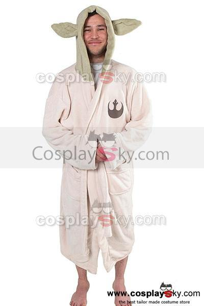 Star Wars Yoda Jedi Ears Fleece Bathrobe Hooded Robe Kostuem Erwachsene Größe