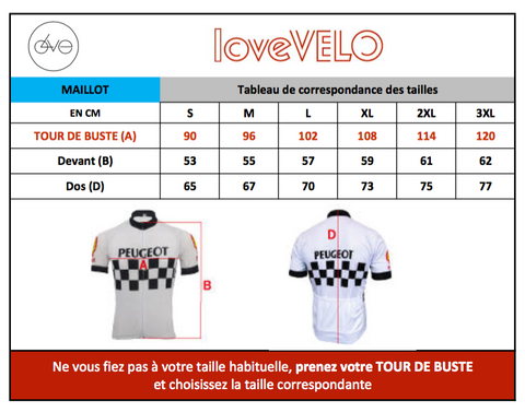 Tableau taille Maillot Giro d'Italie