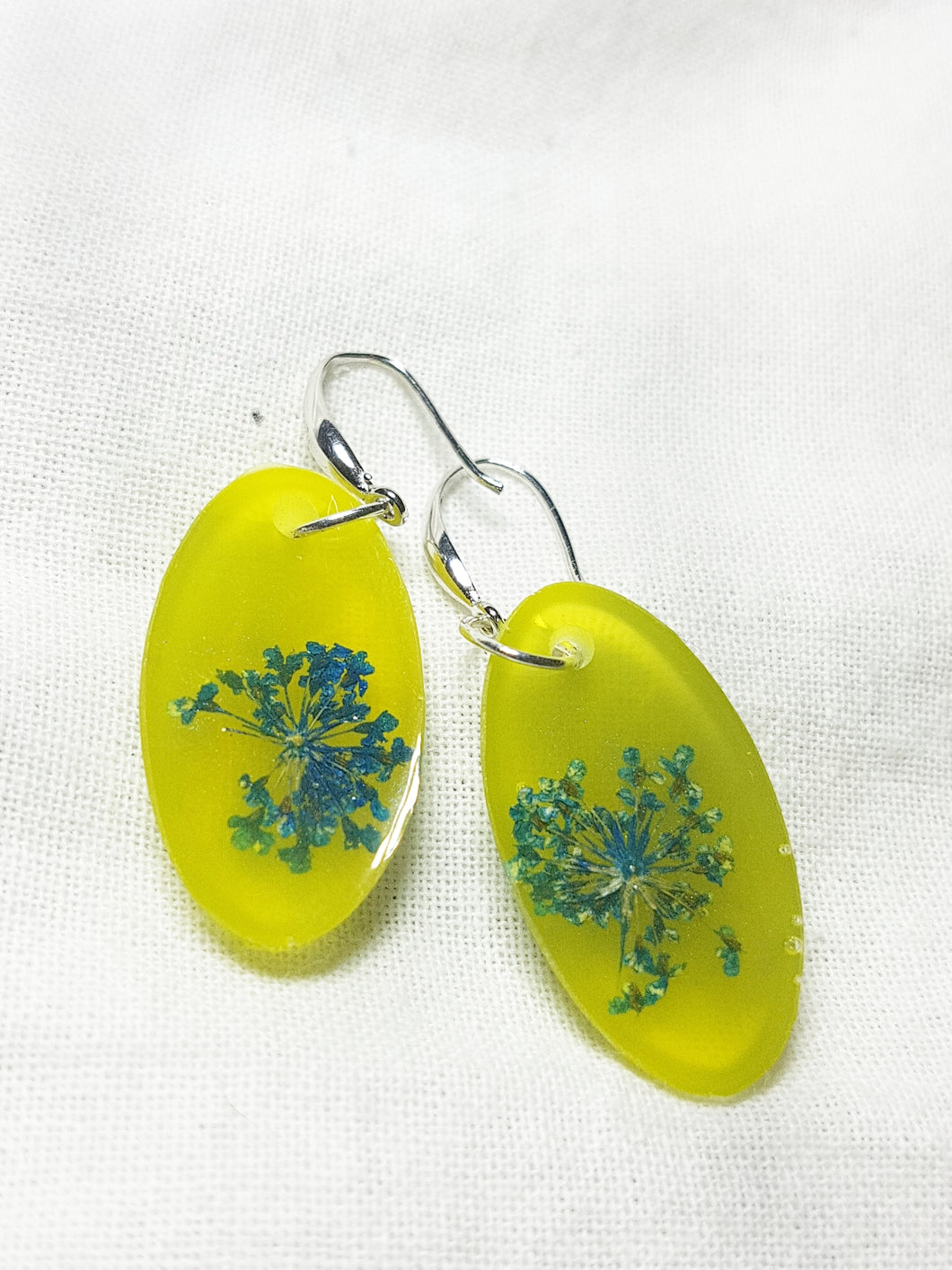 Blue Flower in Yellow Earrings