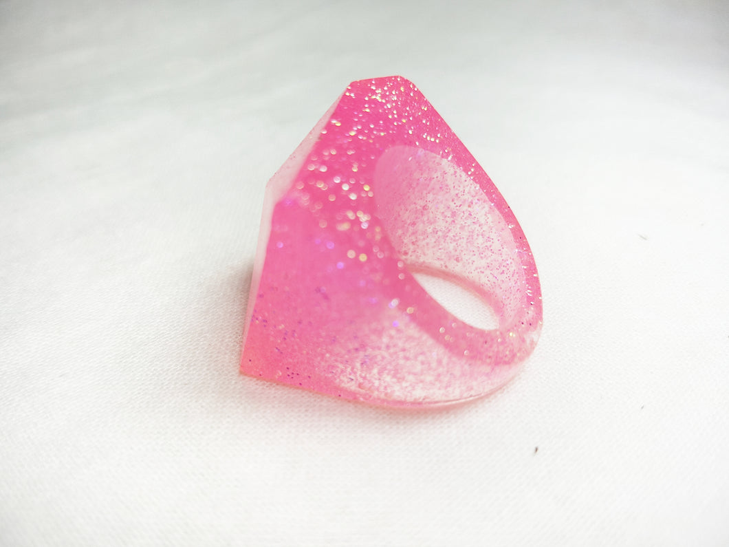 Large Retro Ring - Pink Glitter