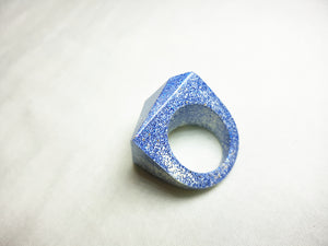 Large Retro Ring - White with Blue Glitter