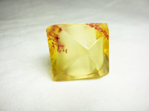 Large Retro Ring - Yellow with Flower