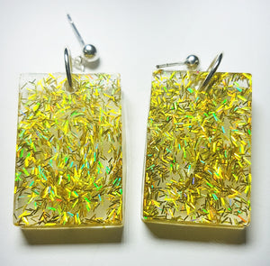 Yellow Glitter/Glow Earrings