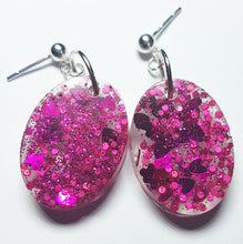 Pink Hearts Glitter/Glow Earrings