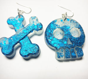 Skull & Bones Earrings - Blue