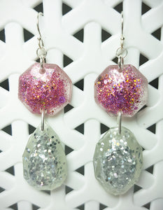 Celebrity Mermaid Glitter Earrings - Apricot/Pink