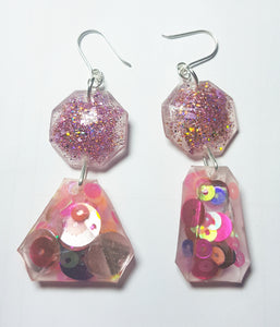 Celebrity Mermaid Glitter Earrings - Pink