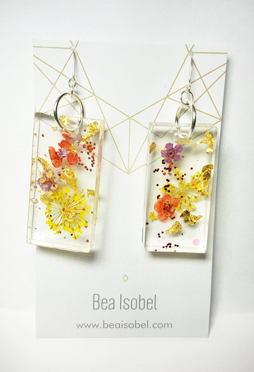 Gold Leaf, Glitter & Flowers Resin Earrings
