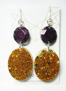 Purple & Gold  Glitter Glam Resin Earrings