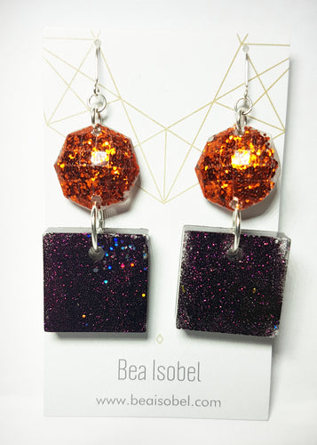 Apricot & Purple Glitter Glam Resin Earrings