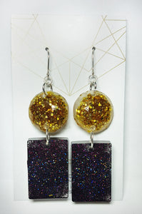 Gold & Purple Glitter Glam Resin Earrings