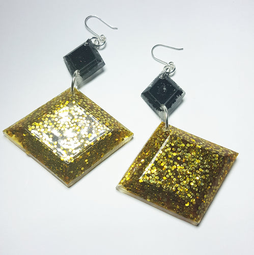 Black & Gold  Diva Statement Earrings
