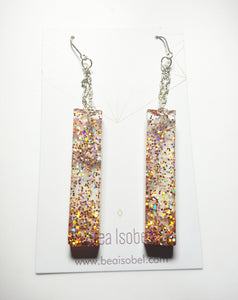 Apricot Column Glitter Earrings