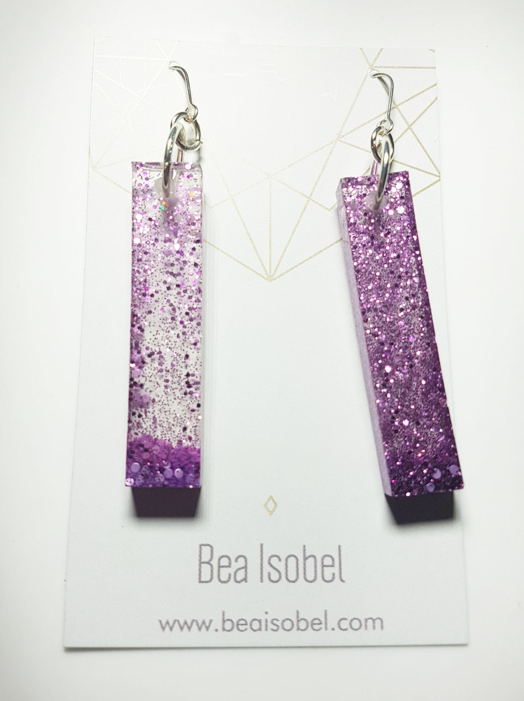 Purple Column Glitter Earrings