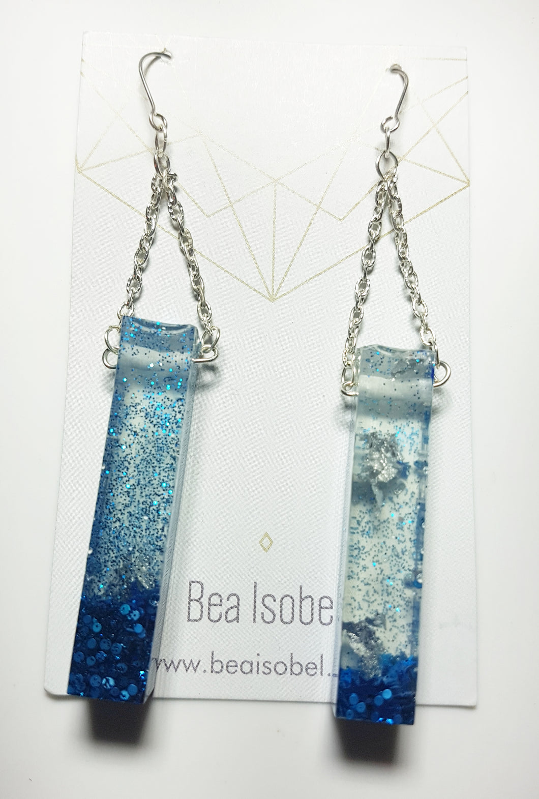 Blue Glitter Column Earrings