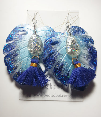 Blue Sea Monstera Earrings