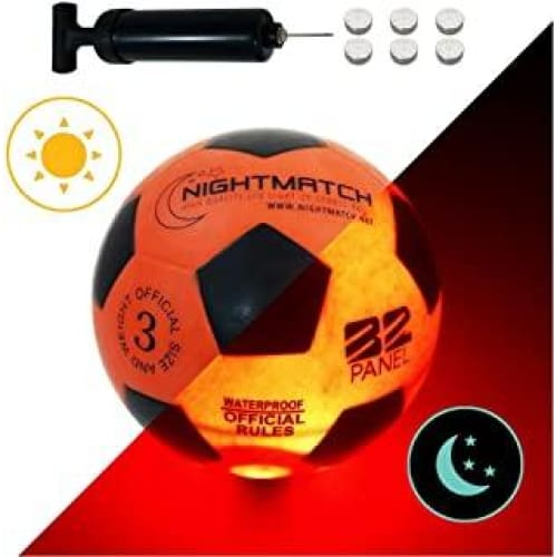 nightmatch ballon de football lumineux pompe a ballons et batteries