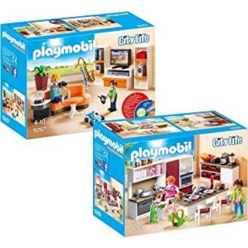 playmobil city life set en 2 parties 9267 9269 soggiorno con mobile