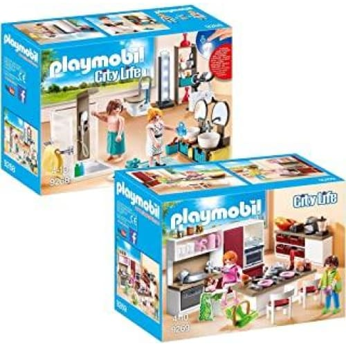 playmobil city life set en 2 parties 9268 9269 bagno accessoriato gr